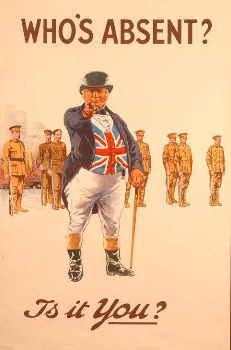 Affiche de recrutement britannique (Qui est absent ? Est-ce toi ?). Côte 2 AFF 62_3